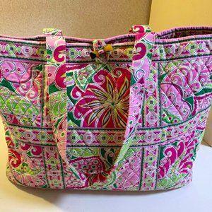 Vera Bradley Pink Floral Quilted Tote Bag BIG